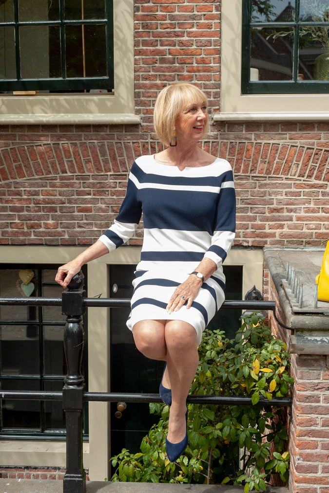 An easy blue and white striped dress in lovely Haarlem