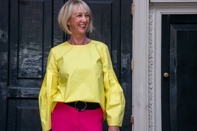 bright pink trousers