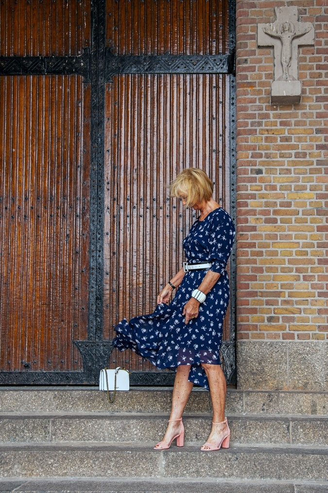 Long blue dress by Cabi