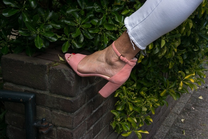 Pink high heeled sandals