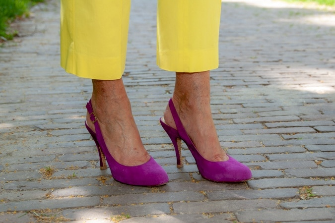 suede purple pumps