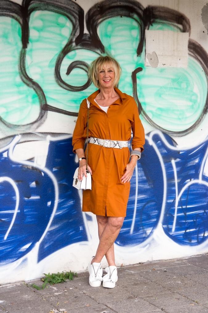 Saffron shift dress