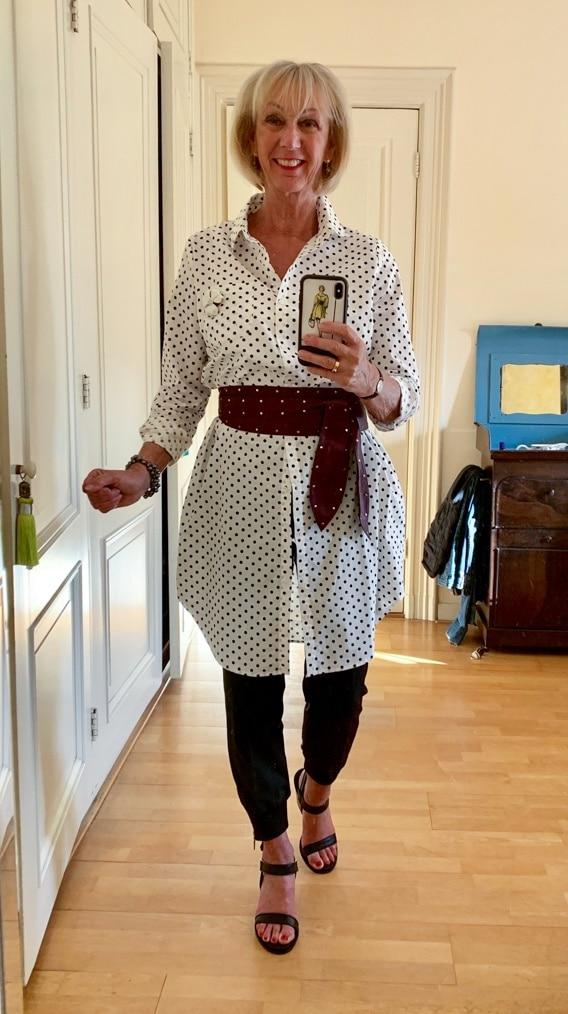 Polka dot dress Essentiel worn as jacket