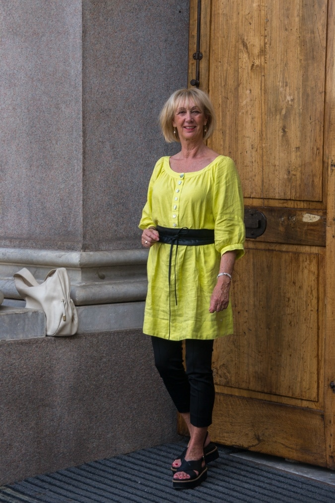 Elegant dress in lime linen worn as tunic