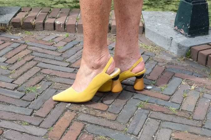 Yellow suede high heels by Marks & Spencer