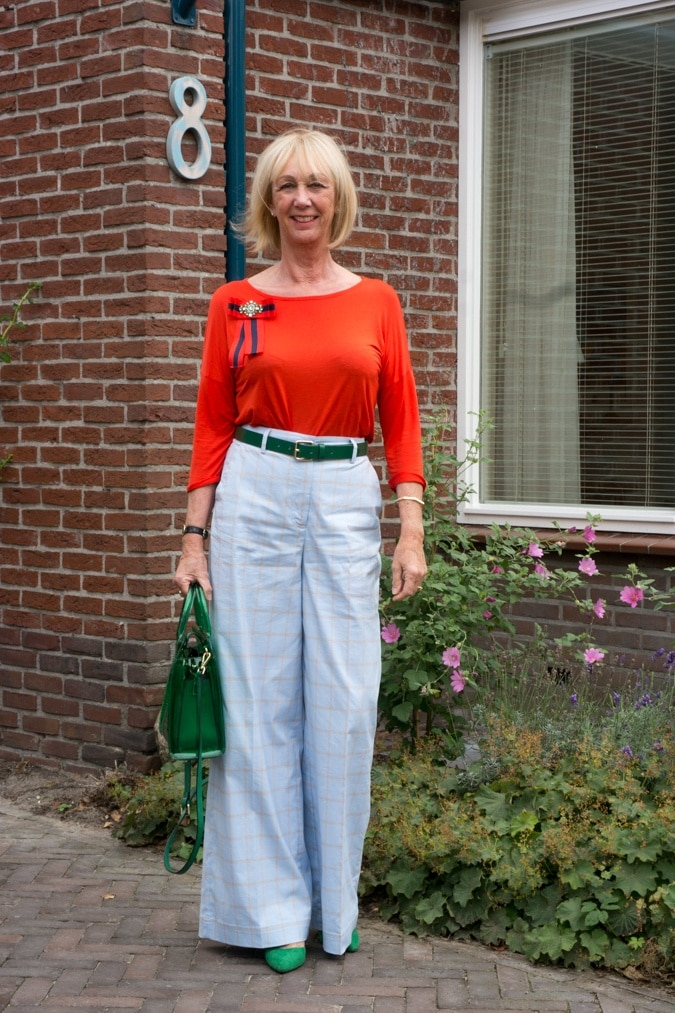 Wide blue summer trousers with orange top