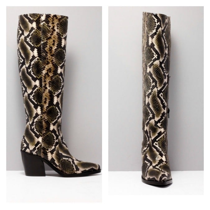 Snake print leather boots