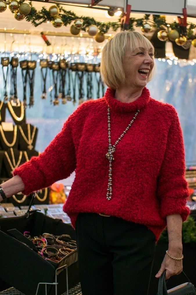 Big red fluffy jumper