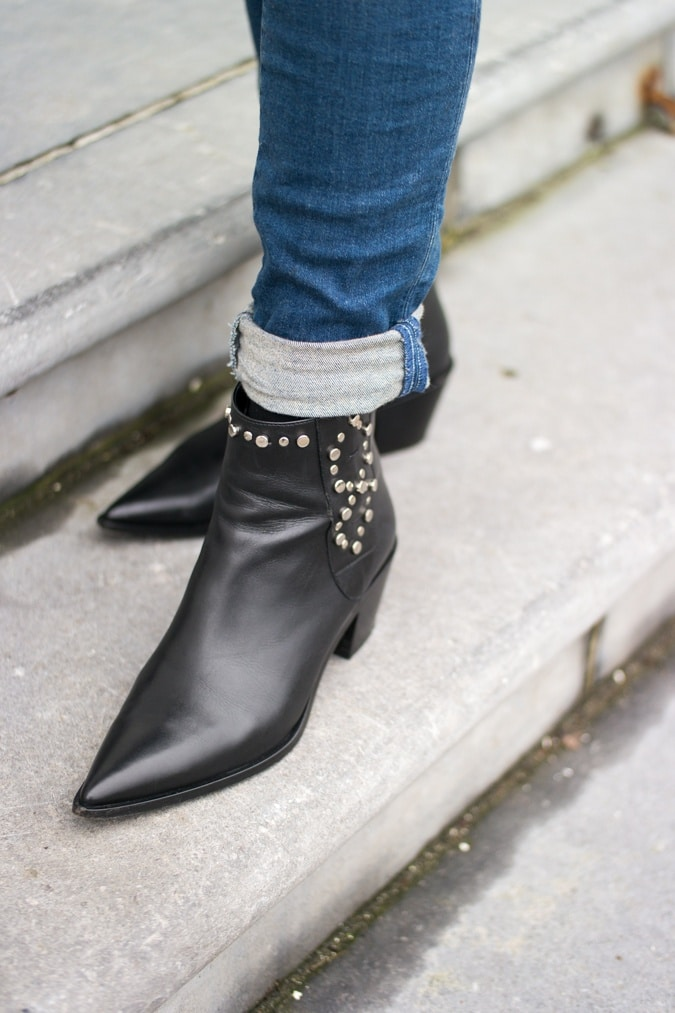 Black flat ankle boots with studs