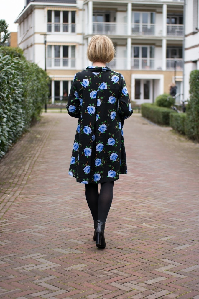 black dress with blue flowers by Essentiel