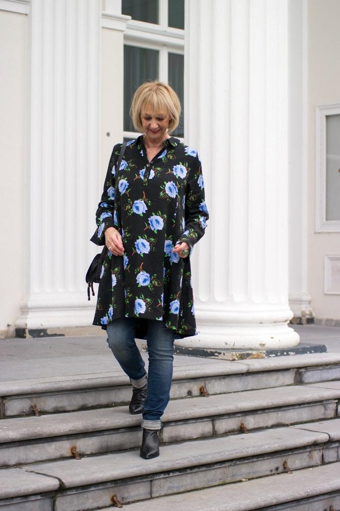 black dress with blue flowers by Essentiel