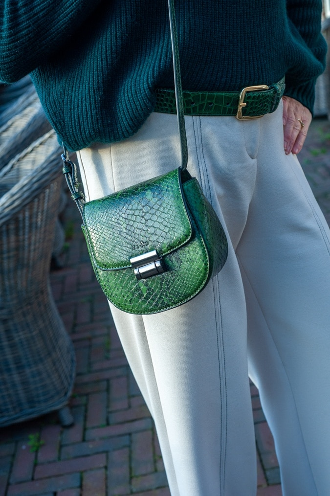 Green crossbody bag snake print