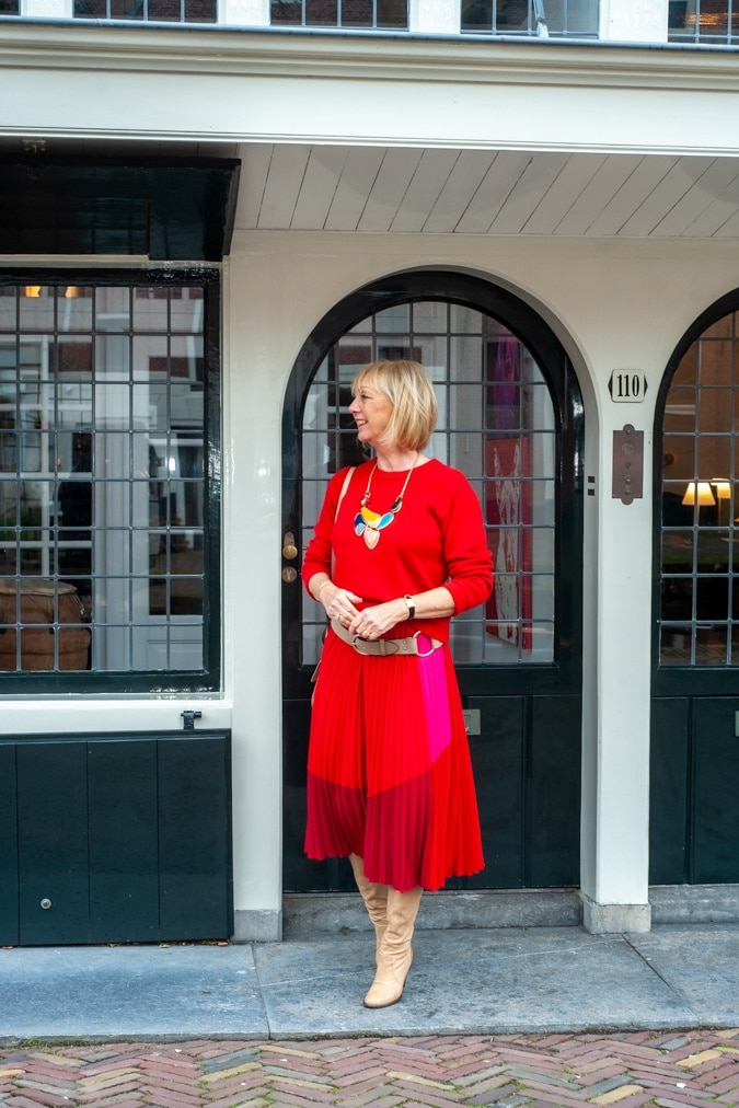 A red and pink pleated skirt