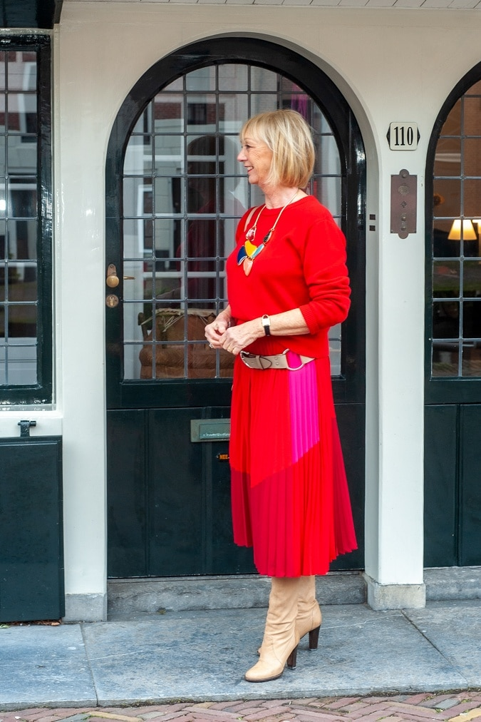 red and pink pleated skirt