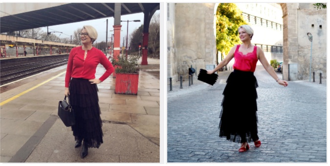 Nikki of Midlifechic in tiered ruffle skirt by Hope Fashion UK