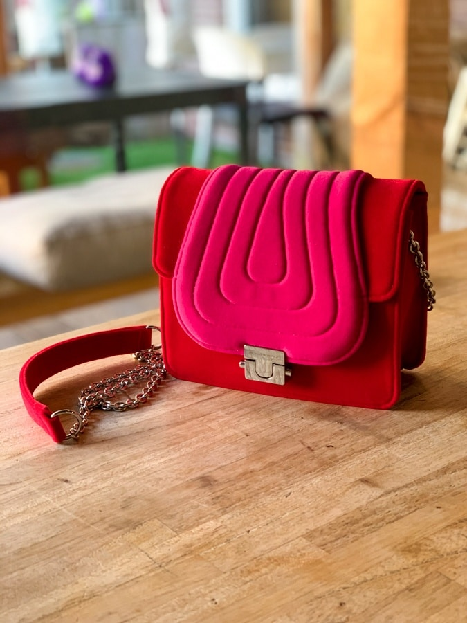 Bright red and bright pink mini bag