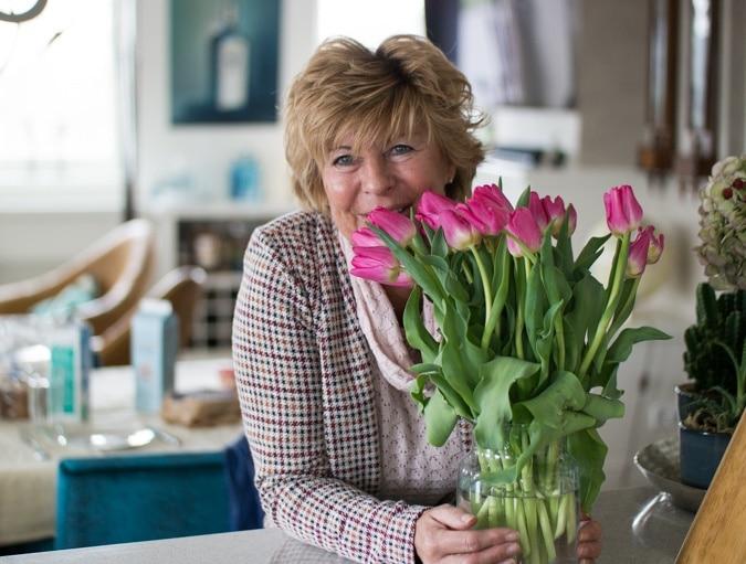 Marijke with tulips
