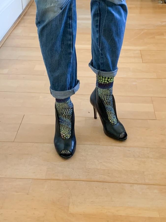 socks in peeptoe shoes