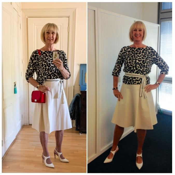 Outfit Tuesday cream skirt with leopard jumper