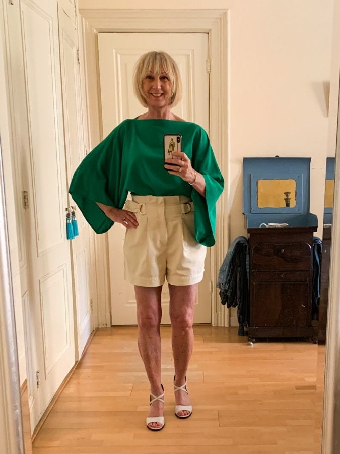 shorts with silk blouse