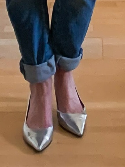 Flat silver shoes