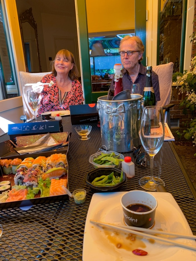 Marla and Georg eating sushi