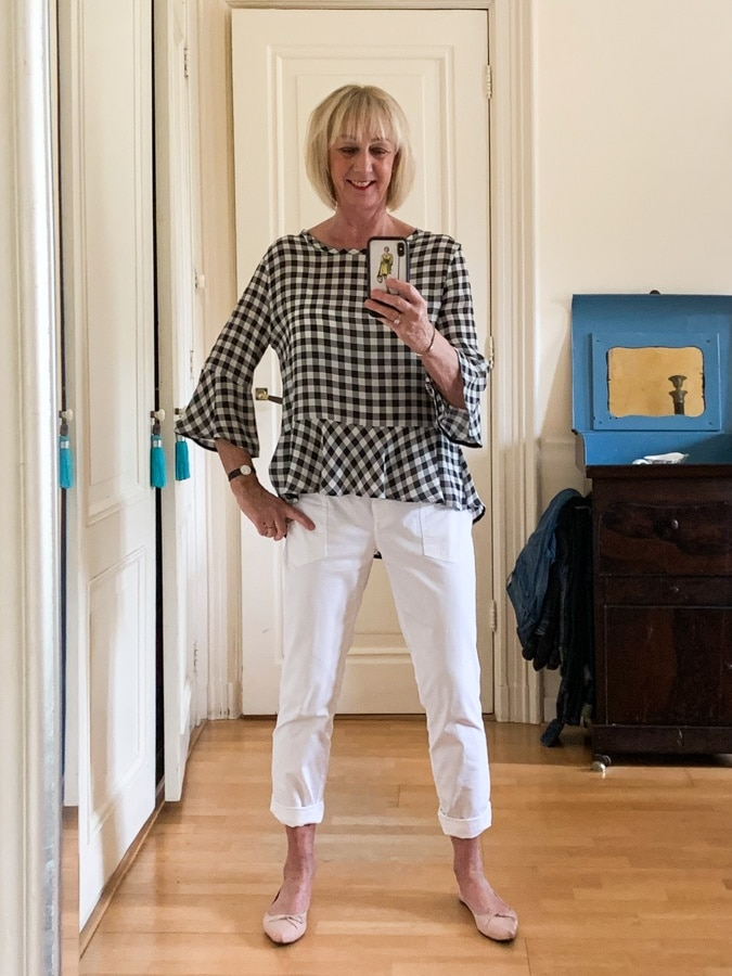Outfit Monday black and white checked top