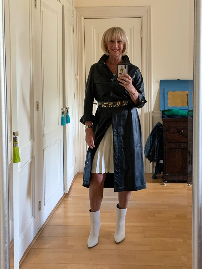 Leather dress with the sleeveless dress showing