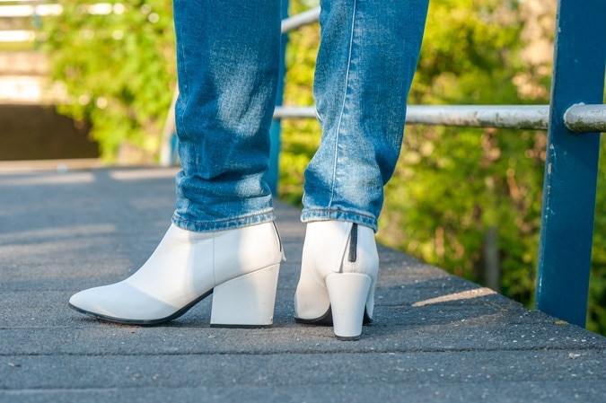 White pointy ankle boots