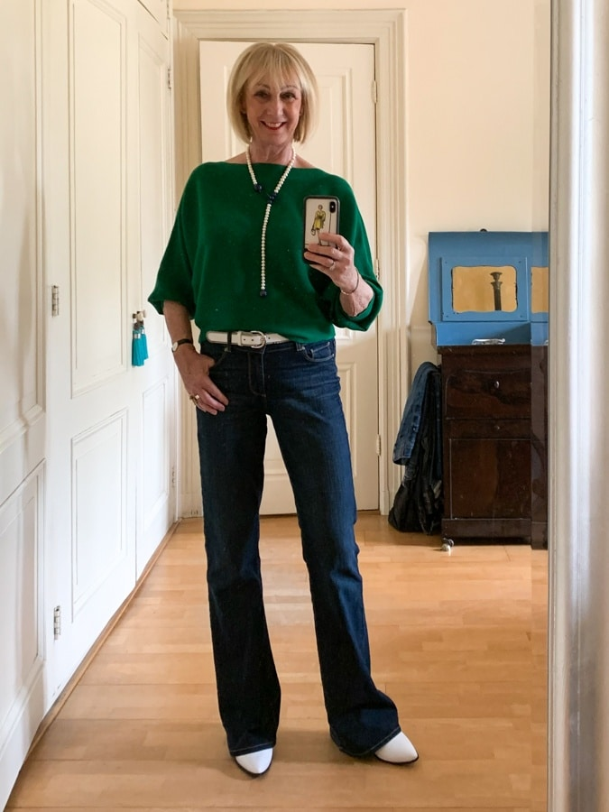 Green jumper on Paige jeans Wednesday