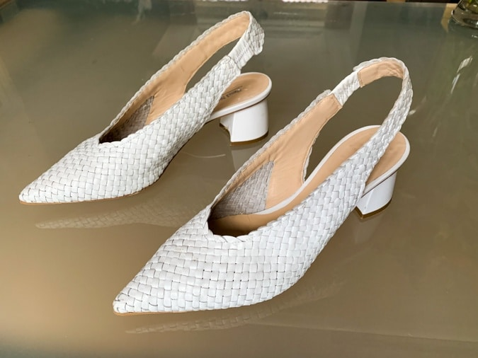 White braided shoes