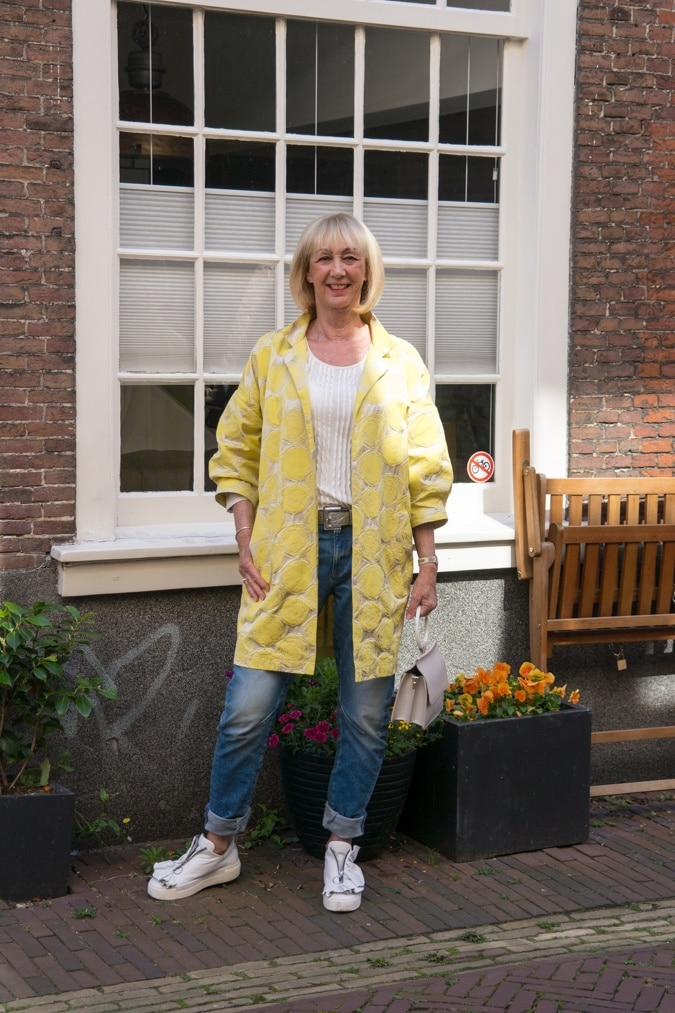 A yellow and silver jacket