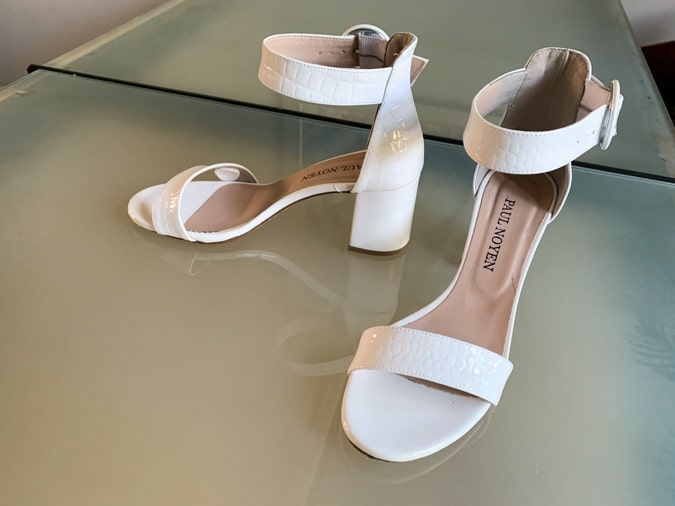 White block heeled sandals