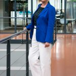 A bright blue jacket with white trousers – alternative edition