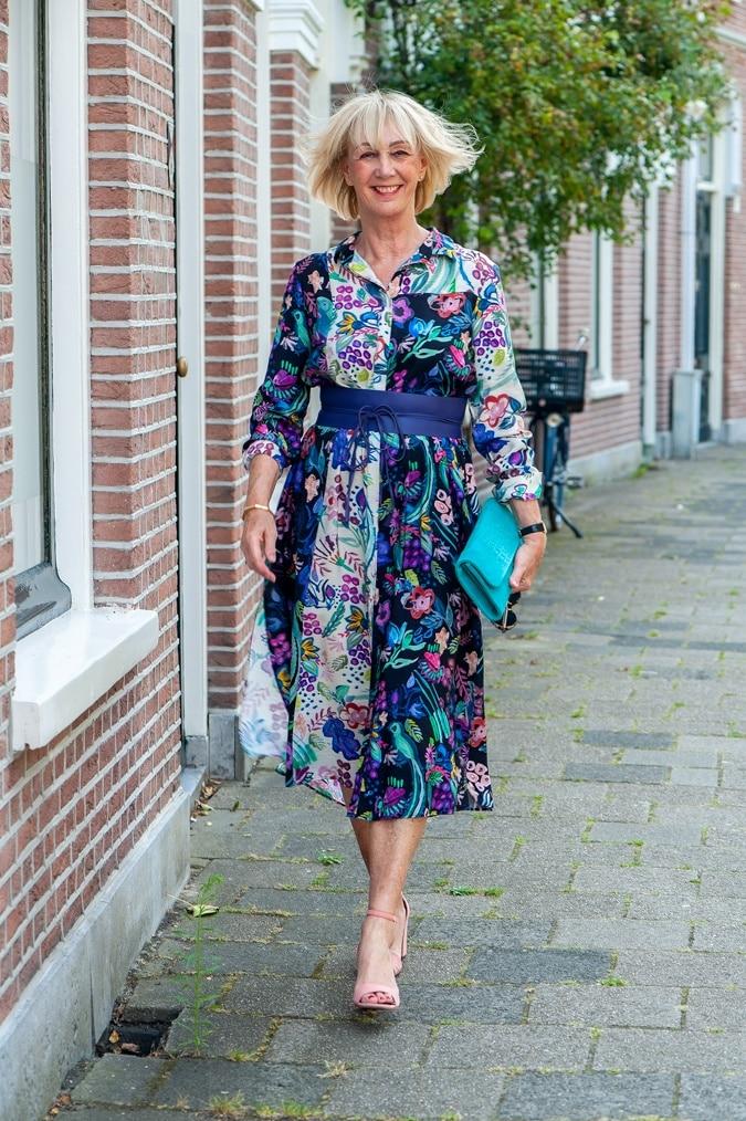 A colourful midi shirtdress
