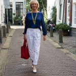 White trousers with a blue top