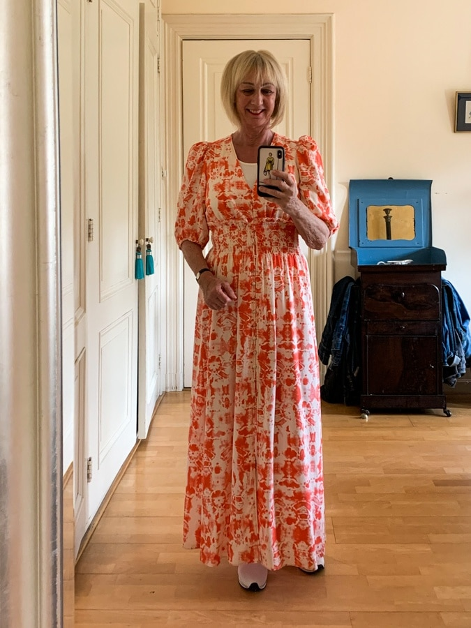 Outfit Saturday pink and orange maxi dress