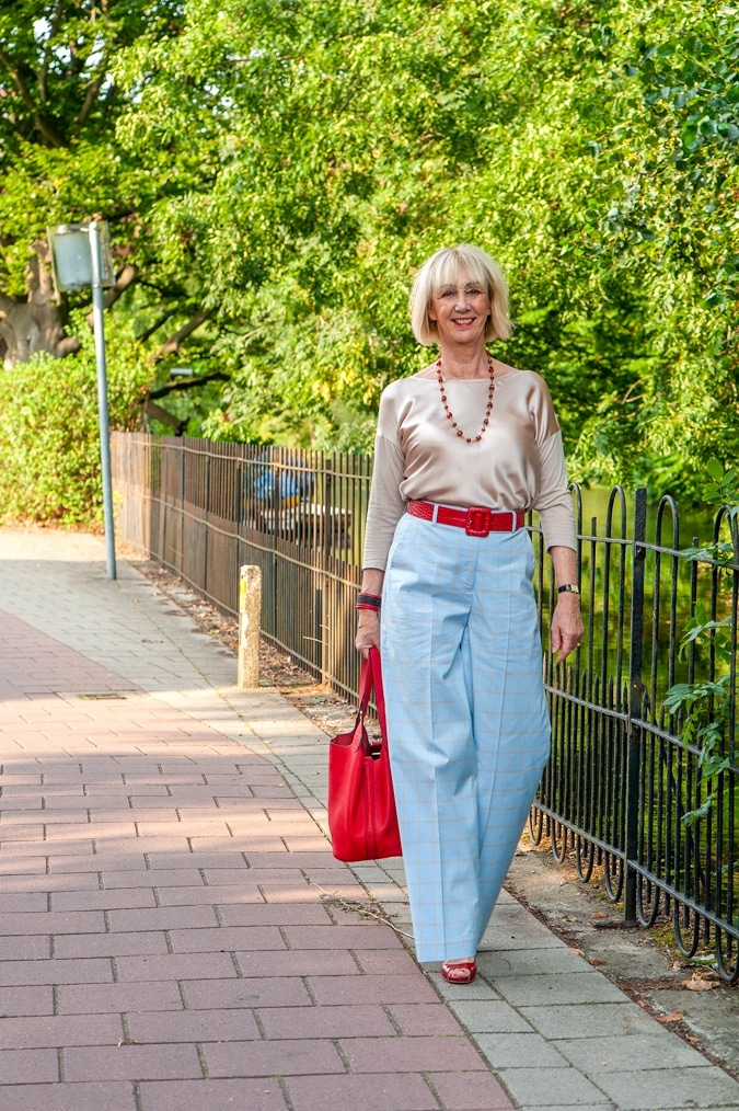 Baby blue checked trousers with a golden top