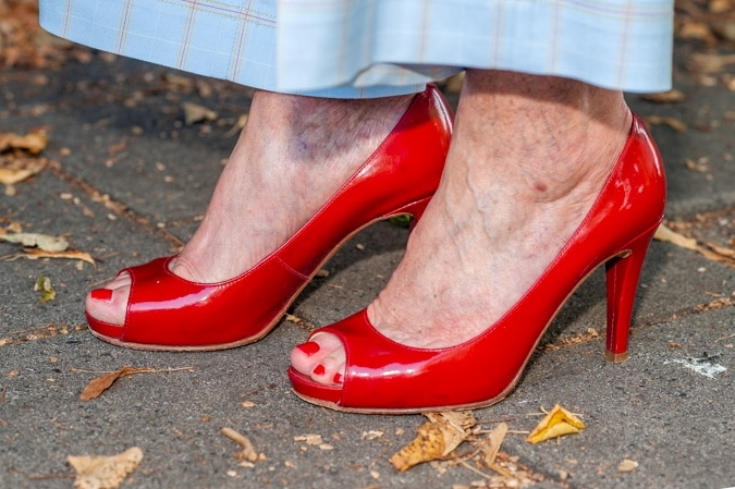 Red patent leather peeptoe shoes