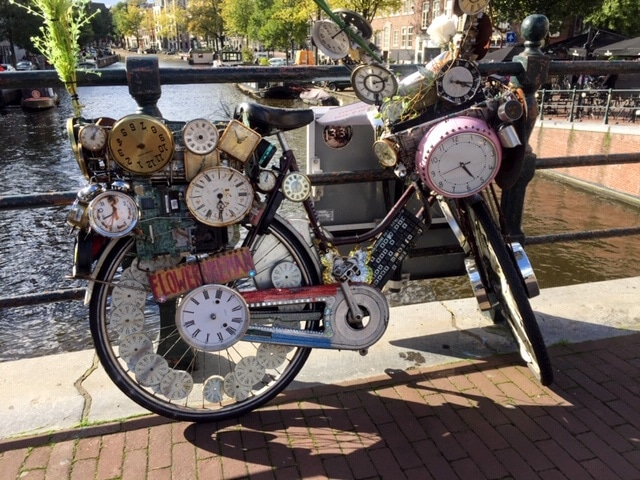 Bicycle with clocks