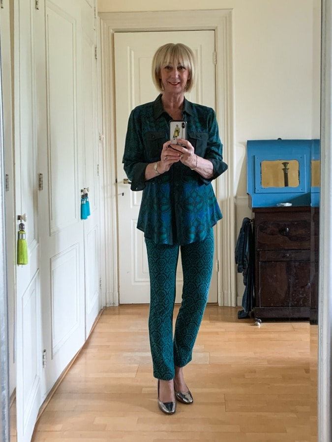blue and green shirt and trousers Max Mara
