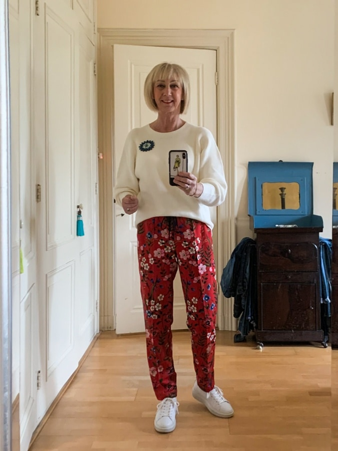 Thursday red floral trousers