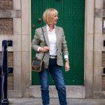 Green houndstooth blazer with boyfriend jeans