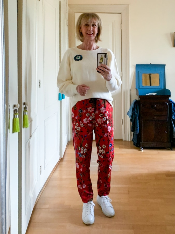 Red floral trousers