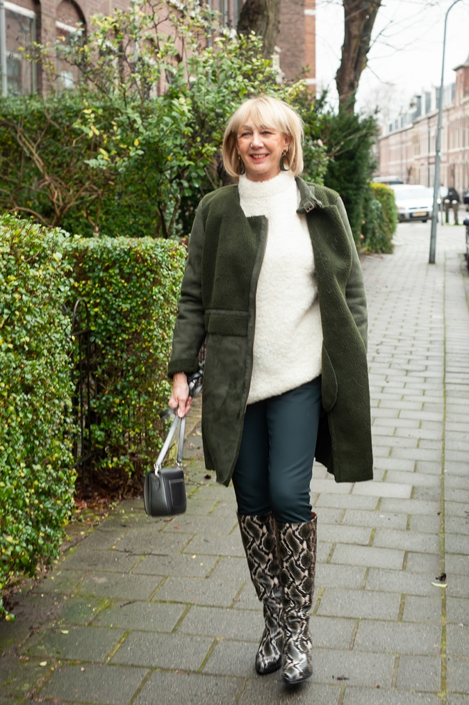 Python boots with an oversized jumper