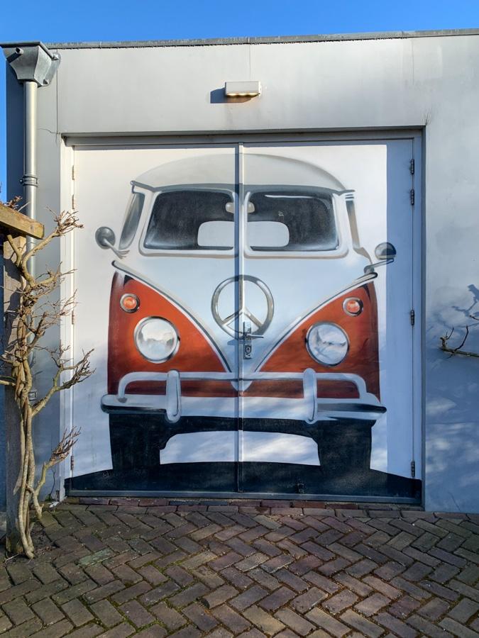 VW van on garage door