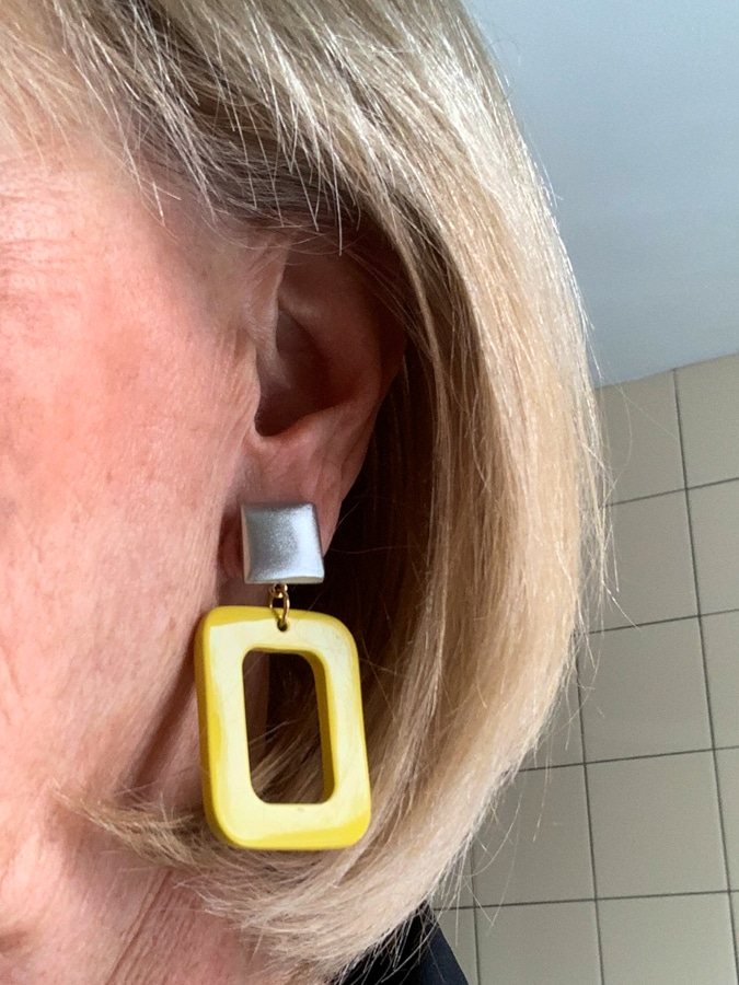 Yellow earrings with silver button by LaraDesign.nl