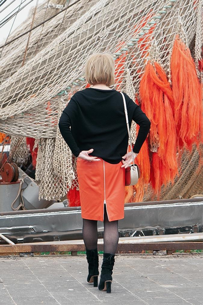 Orange leather skirt IJmuiden