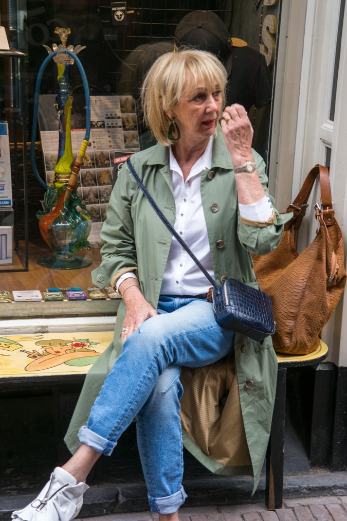 wide green trench coat