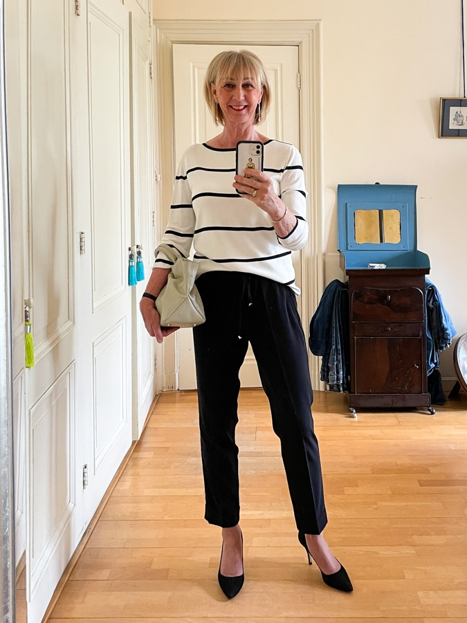 Black and white trouser outfit